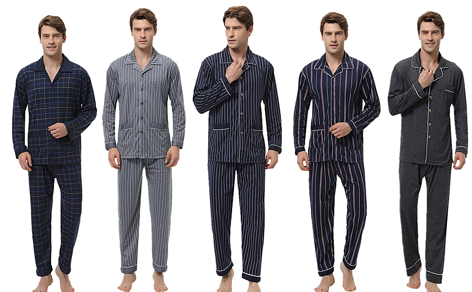 Aibrou Pijamas Hombre Invierno Algodón 2 Piezas Calentito Pijamas con Bolsillos Otoño Suave,Cómodo y Agradable