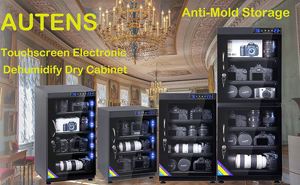 AUTENS 130L Electronic Dehumidify Dry Cabinet Box Anti-Mold Storage with Touchscreen Adjustable Shelves for Digital Camera Gear DSLR SLR Lens Equipment /& Electrical Components LED Light