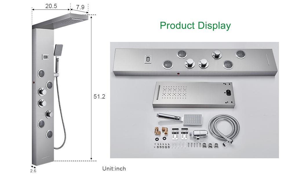 shower panel size