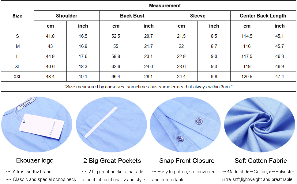 womens house dress size chart