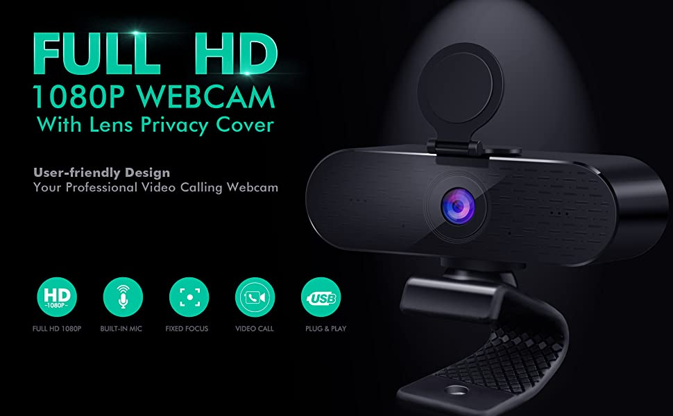 Logitech C920 HD Pro Webcam with Microphones Privacy Cover for Desktop PS4 USB-C Web Camera Lighting