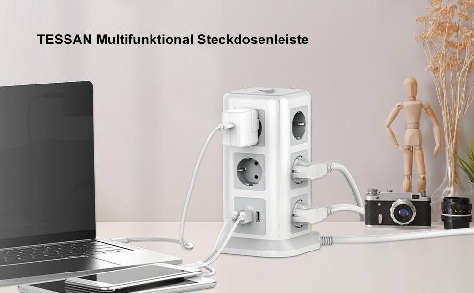 steckdosenturm Steckdosenleiste mehrfachsteckdose überspannungsschutz mit Schalter Steckerleiste 10f
