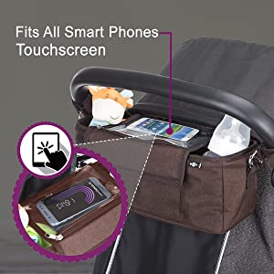 Phone pocket for mobile storage on your pushchair shown with touch screen accessibility on pram