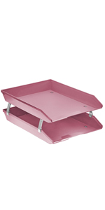 acrimet facility letter tray 2 tier front load solid pink color