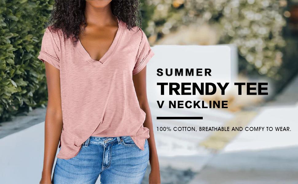 V neck t shirt for women