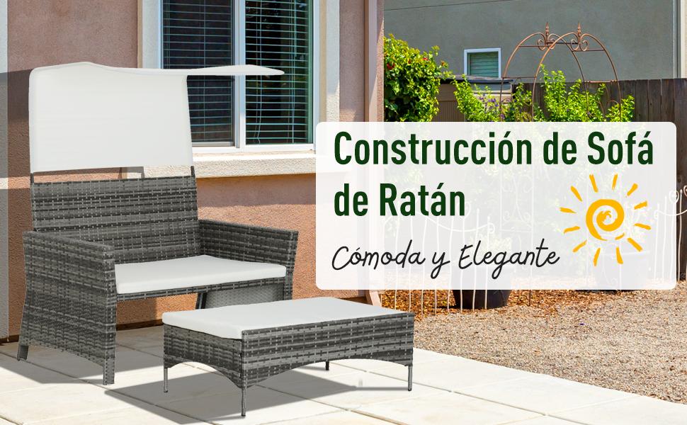 Outsunny Sofá de Ratán Dos Plazas Sillón Mueble para Jardín Terraza con Reposapiés Extraíble Toldo Cojín Desmontable 126x75x150cm