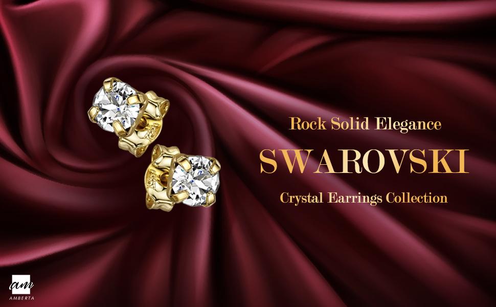 Argento Sterling 925 - Placcato Oro Rosa Paio di Orecchini a Perno Brillanti con Swarovski Pietre