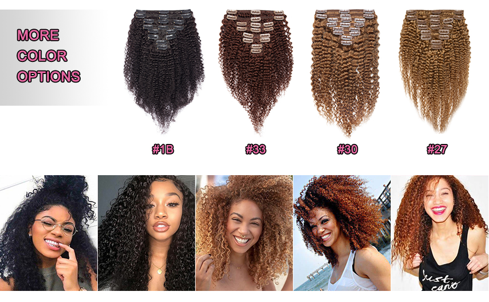 Hairro clip in afro kinky curly human hair extensions have 4 color options