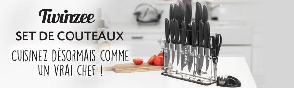 Twinzee Set De 16 Couteaux De Cuisine Porte Couteaux Antibacterien Acier Inox Eplucheur Aiguiseur Ciseaux Amazon Fr Cuisine Maison