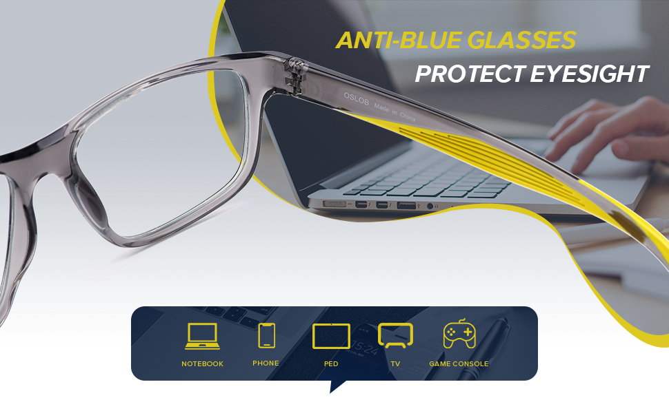 Anti blue light glasses protect eyes from screens harmful blue ray