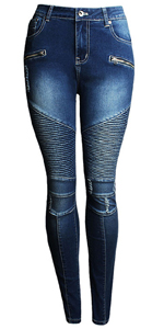 Women's Ripped Moto Biker Skinny Jeans Stretch Riding Jean