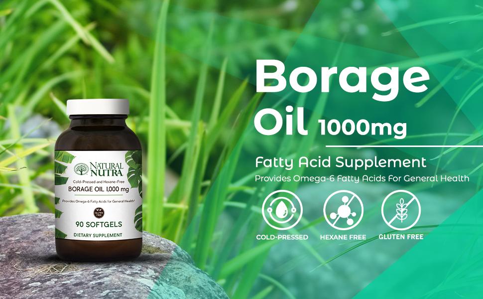 Natural Nutra Borage Oil, Omega 6 Essential Fatty Acids Supplement