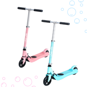 pink and blue electric scooter for girls and boys kick to start system easy to ride