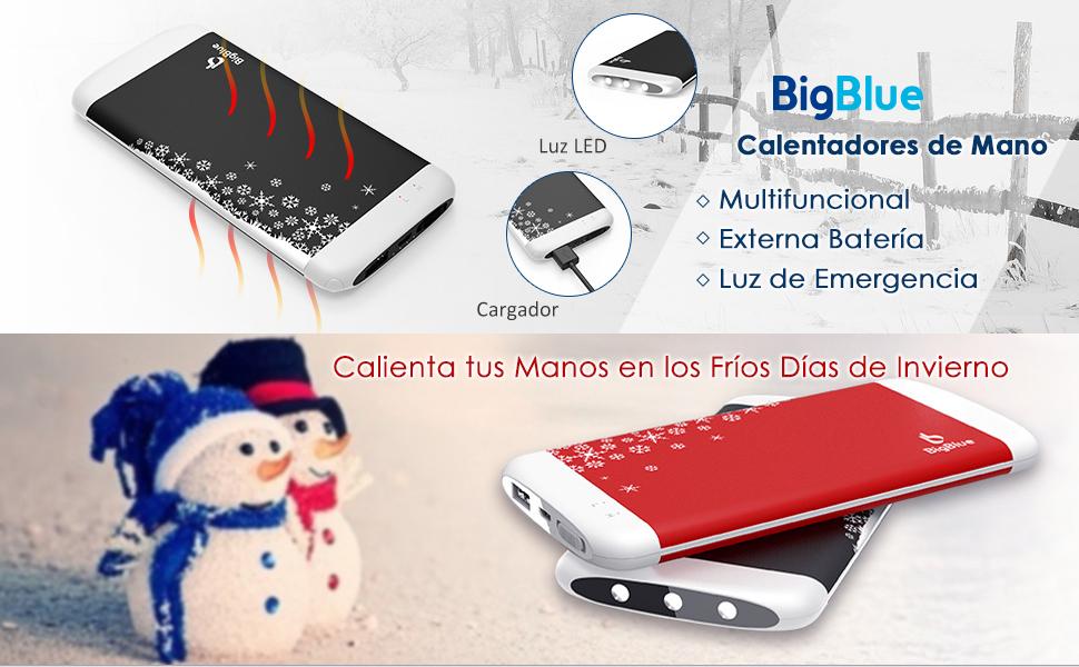 Calienta Manos Electrico con Powerbank Multifuncional y Luz LED Versi/ón de Navidad, Rojo BigBlue 6000mAh Calentadores de Mano