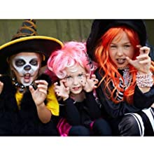 Orange yellow colored clip in hair extension highlight clip in hairpieces for Halloween for kids