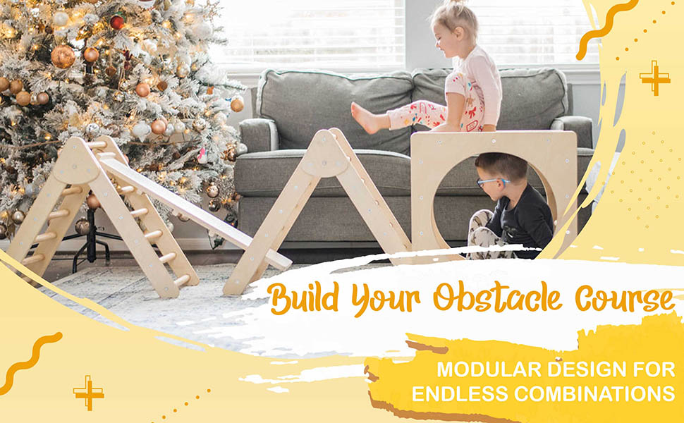 Indoor Obstacle course, Triangle climbers, Pikler triangle with ramp attachment, and cube