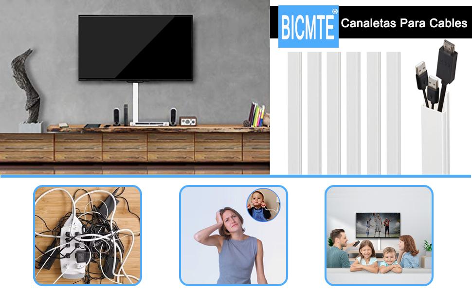 Canaleta Cables Adhesiva/Canal de Cable Blanco/Canaleta CablesTV(L 40cm x W 3.9cm x H 1.9cm) 6 piezas/2.4m: Amazon.es: Bricolaje y herramientas