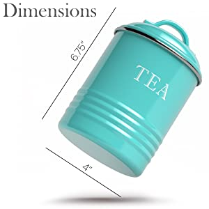 dimension photo for Kitchen Canisters with Lids Turquoise Metal