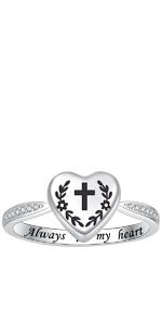 cross urn ring