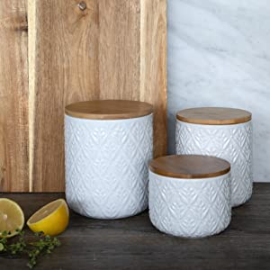 ciroa white ceramic storage canisters