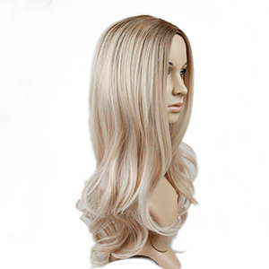 long wave ombre ash blonde wig blonde cancer wig natural curly hair wigs for women mixed color wig