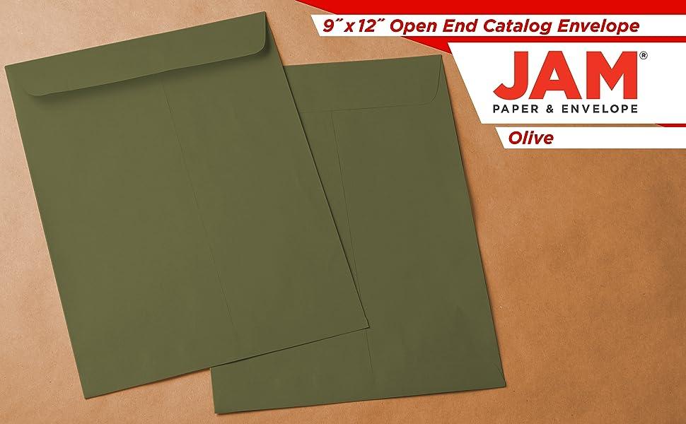 olive 9 x 12 open end envelopes