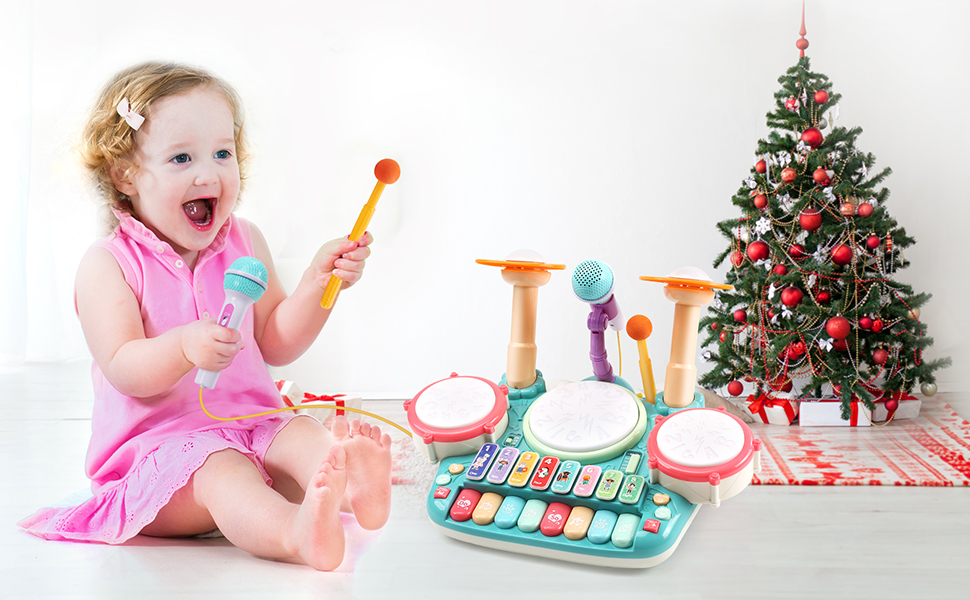 CUTE STONE 5 IN 1 Musical Instruments Toys-Happy Play Electronic Piano, Xylophone, Drum Set!