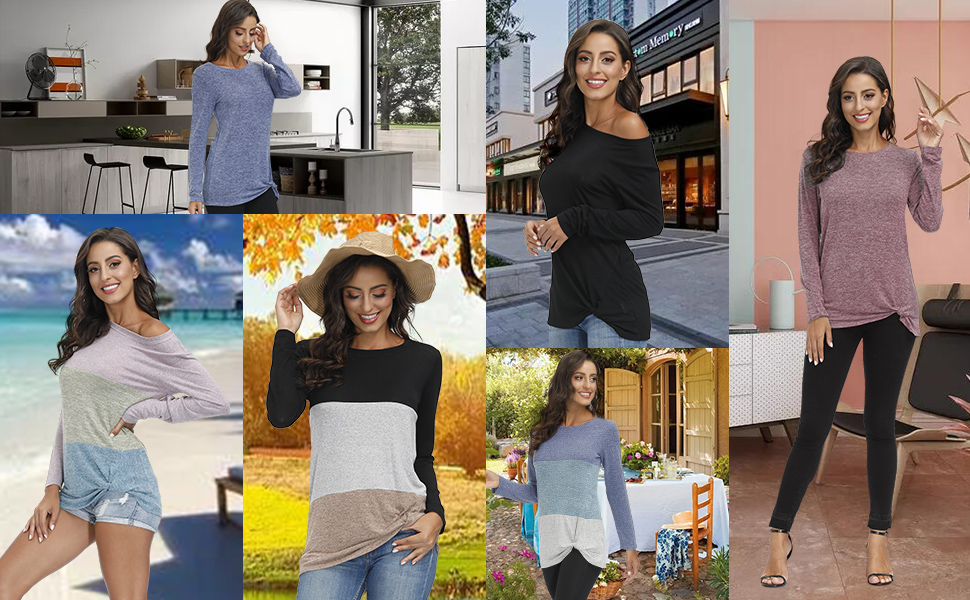 women round neck tunic tops color blocks blouses fashion t shirts off shoulder tops lightweight
