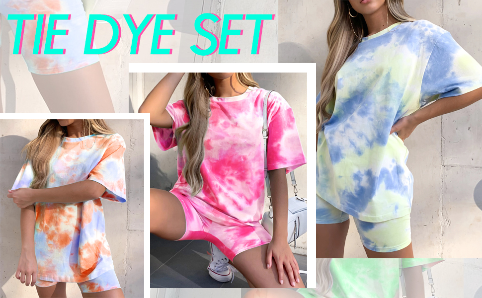 tie dye outfit for women two piece