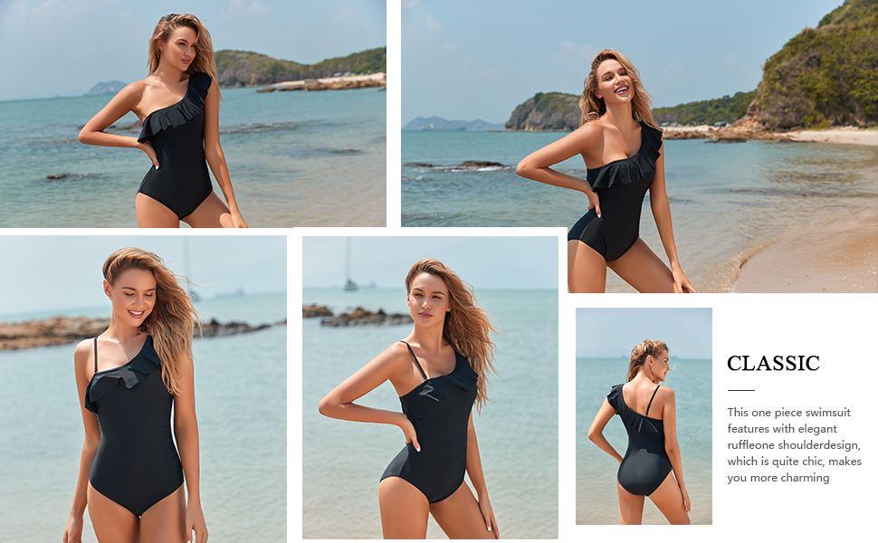 One Shoulder Ruffle One Piece Swimsuits