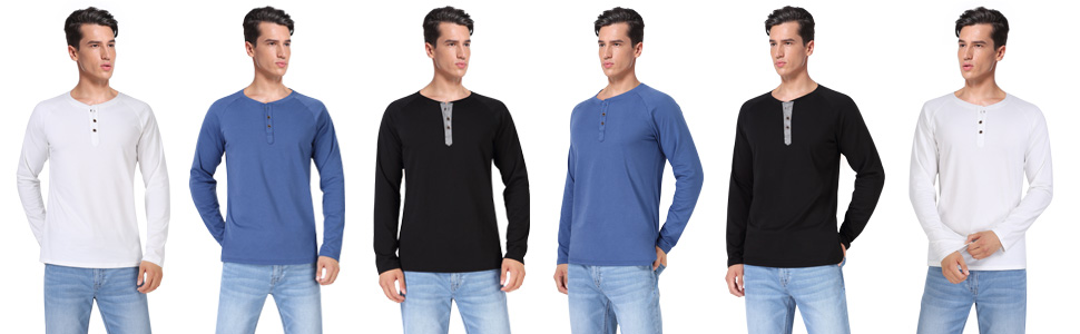 Men's Long Sleeve Henley Tshirts