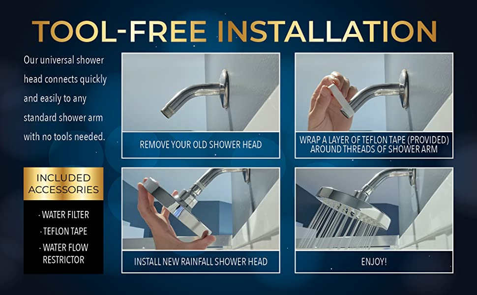 easy tool free installation shower head replace replacement for bathroom home bath shower