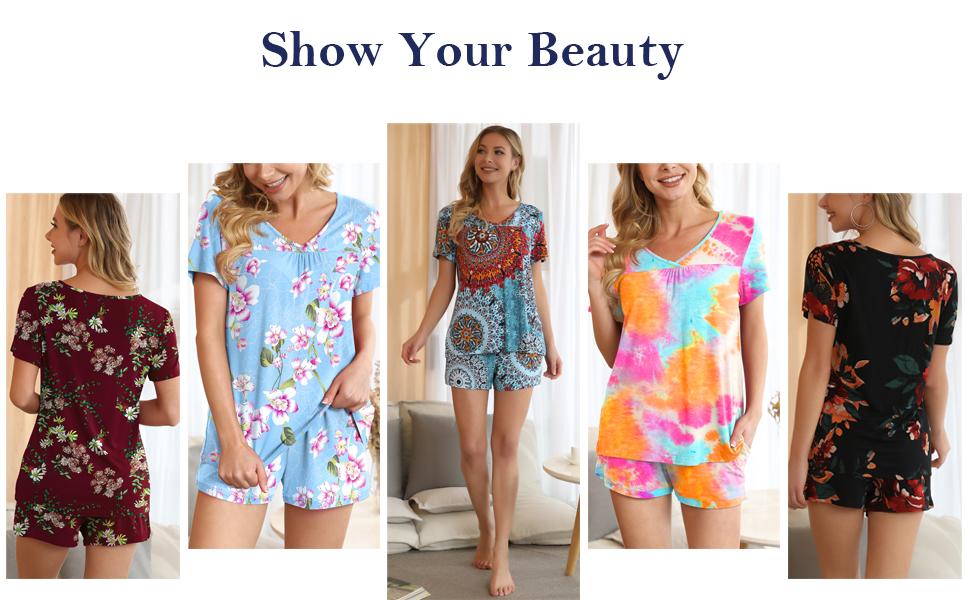 POKWAI Women's Cotton Tie Dye Pajamas Soft Short Sleeve Sleepwear Shorts PJ Set