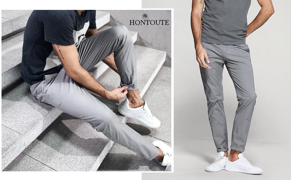 X-Future Men Plain Basic Stretchy Active High Waist Skinny Long Pants