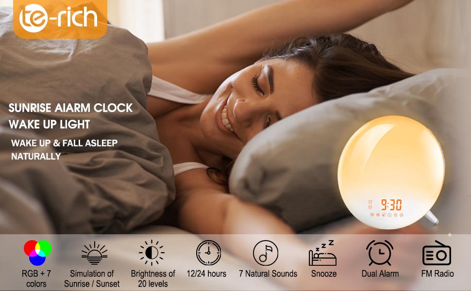alarm clock with lights sunrise alarm clock