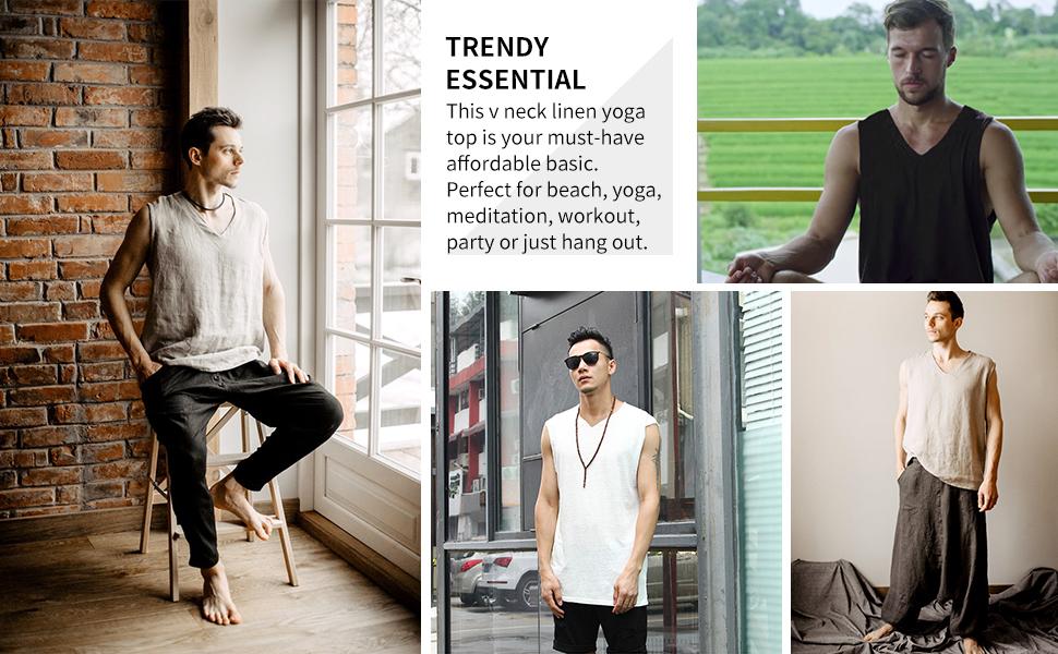men linen yoga top