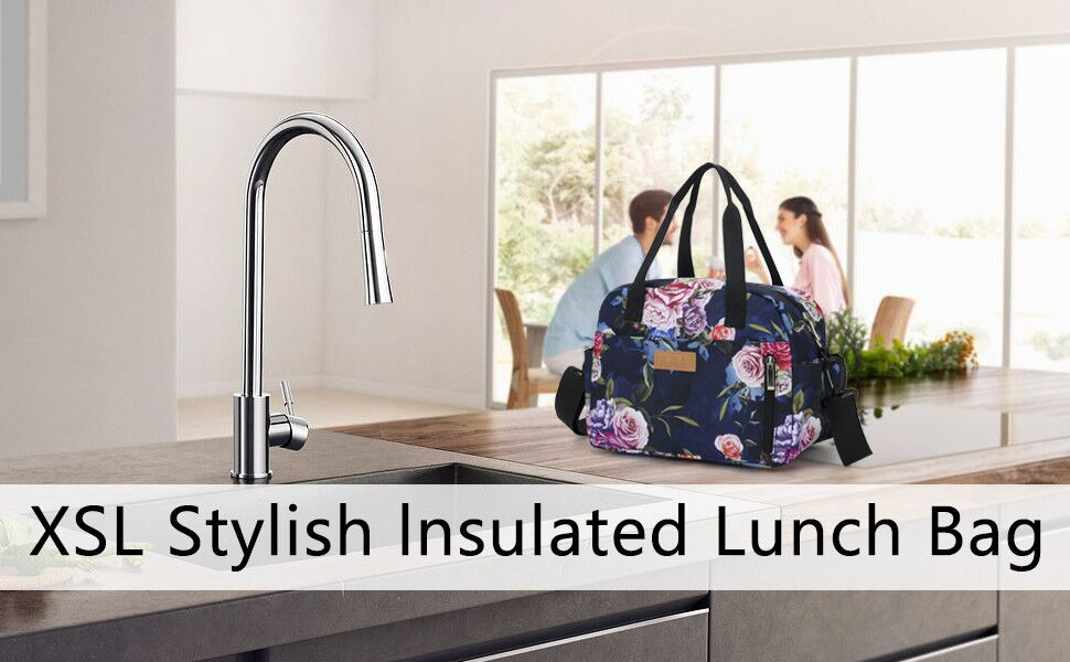 XSL Lunch Bag Cooler Bag Women Tote Bag Insulated Lunch Box Water-resistant Thermal Lunch Bag