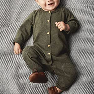 AmzBarley Newborn Baby Boys Romper Long Sleeve Buttons Hooded Jumpsuit Bodysuit Cute Solid Color Cotton Outfit Clothes