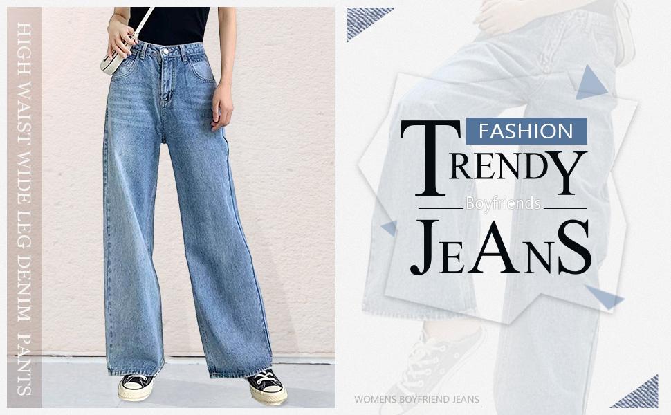 womens wide leg jeans pants