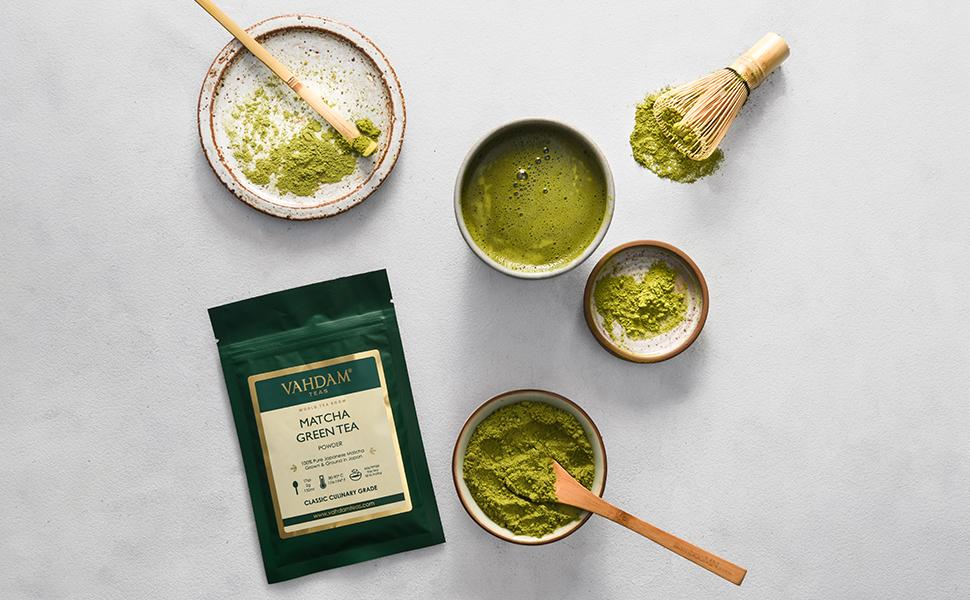 VAHDAM, polvo de té verde Matcha (50 g, 25 tazas), polvo de Matcha ...