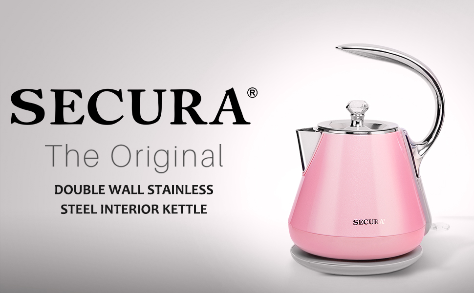 Secura SWK-1201DRO Stainless Steel Electric Tea Kettle with Auto Shut-Off /& Boil Dry Protection Cordless Water Boiler Pink 1.2L BPA-Free//FDA//ETL Certified