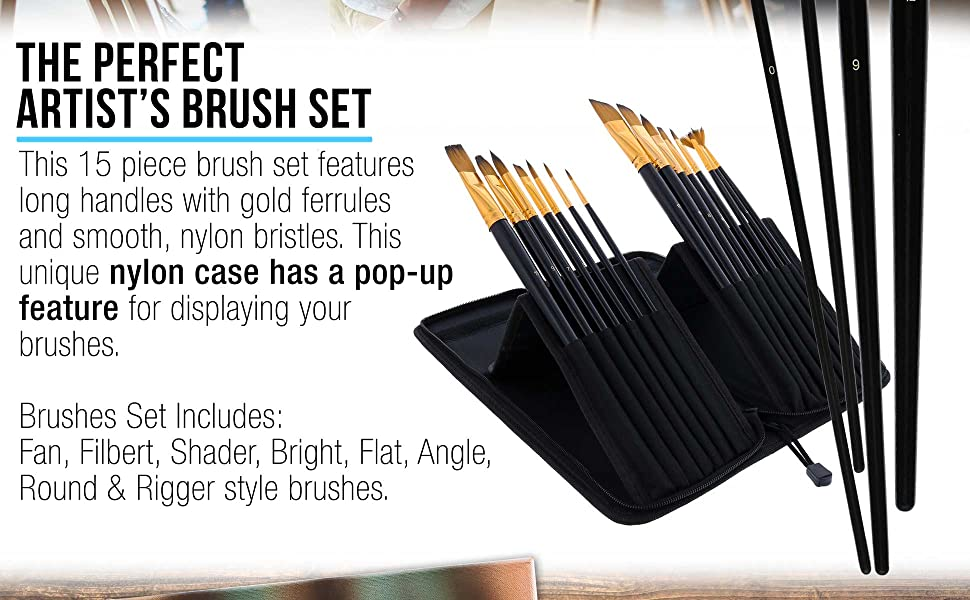 U.S. Art Supply 15 Piece Long Handle Brush Set