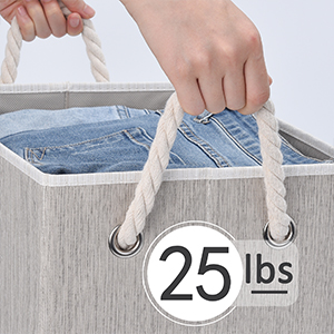 StorageWorks Decorative Storage Bins for Shelves, Storage Baskets with Lids and Cotton Rope Handles