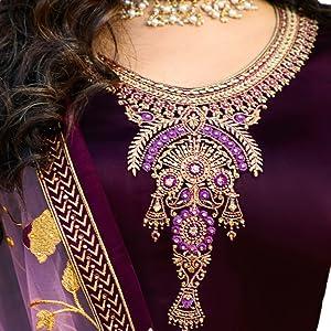 neck design heavy work embroidery satin silk fabric with dupatta