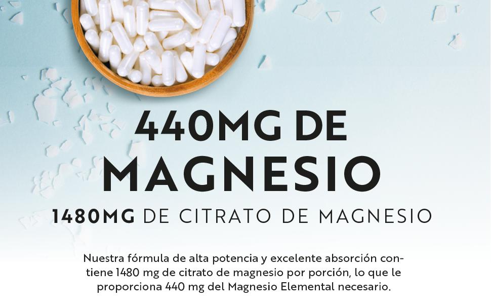 Citrato de Magnesio 1480mg que Proporciona 440mg Alta Dosis de Magnesio Elemental - Alta Biodisponibilidad - 180 Cápsulas Veganos - Suministro 90 Días ...