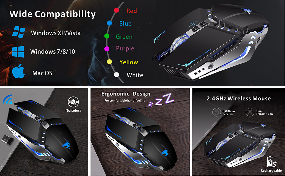 silent gaming mouse rechargeable
