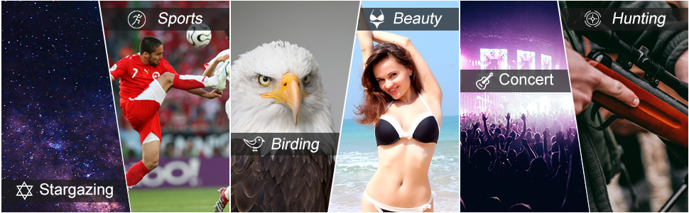 binoculars for bird watching ,sports ,beauty ,concerts ,stargazing and hunting