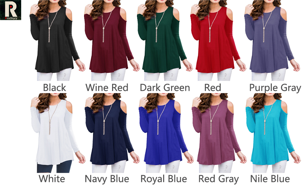 Long Sleeve Casual Cold Shoulder Tunic Tops Loose Blouse Shirts