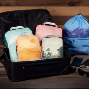 6 piece compression packing cube travel graphic