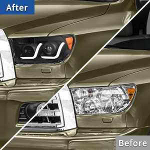 led tube drl projector headlights for 2007-2013 Toyota Tundra 2008-2017 Sequoia